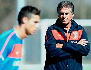 Cristiano Ronaldo e Carlos Queiroz  no treino de portugal dia 24