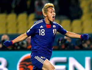 Honda comemoração Japão contra Dinamarca