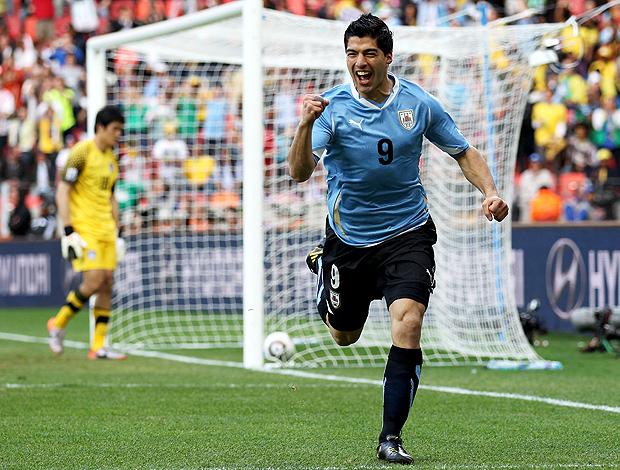 Luis Suarez comemoração Uruguai jogo Coreia do Sul