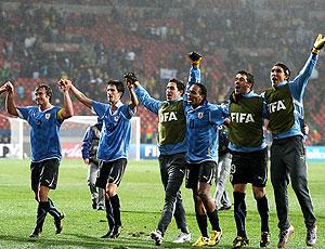 Uruguai comemoração vitória oitava de final