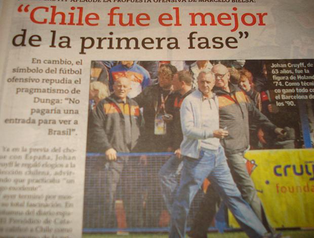 Capa El Mercurio, matéria Brasil x Chile