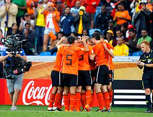 Comemoração gol Holanda, na Eslováquia