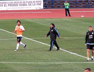 Maradona no treino da  Argentina dia 28