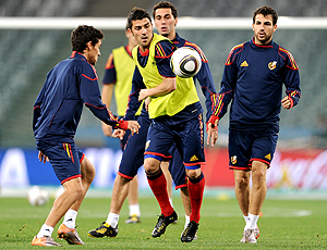 Villa no treino da Espanha dia 28 de junho