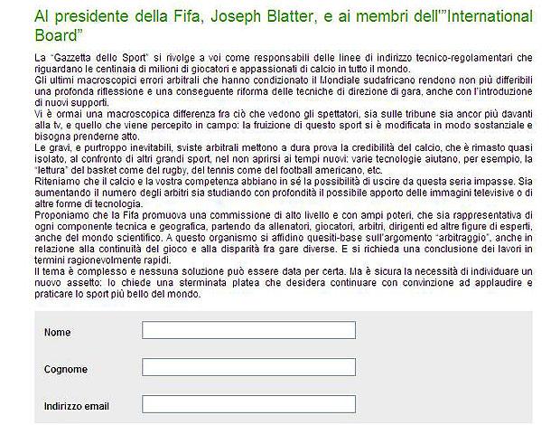 protesto assinatura Gazzetta reprodução