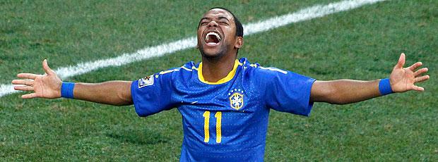 Robinho comemoração Brasil jogo Holanda