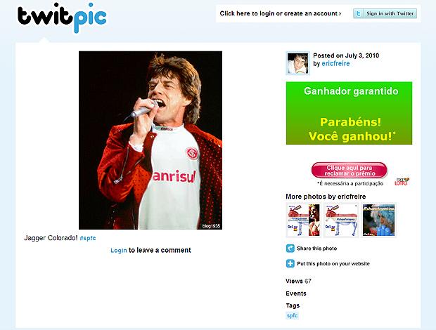 Twitter Mick Jagger camisa Internacional