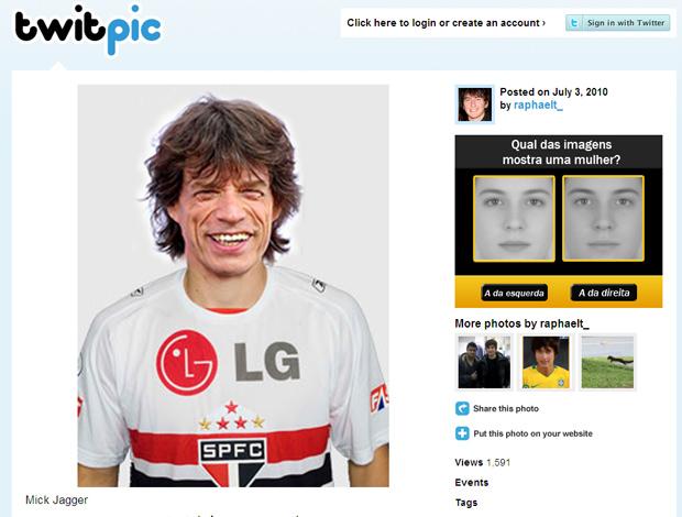 Twitter Mick Jagger camisa São Paulo