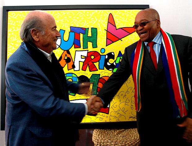 Blatter presidente FIFA e Zuma presidente da Africa do sul em festival