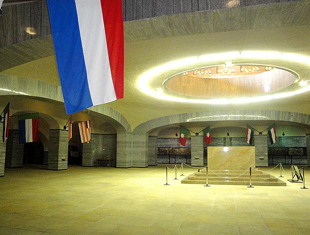 Bandeira holandesa no interior do monumento Voortreker, em Pretória
