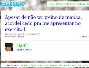 twitter Neymar apresentação ao exército