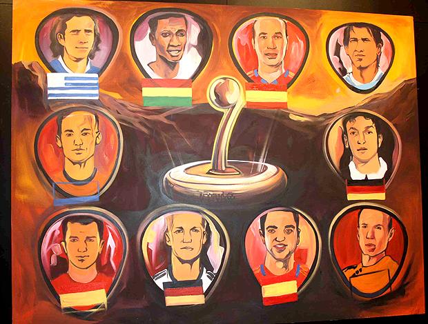 Caricaturas dos 10 concorrentes à Bola de Ouro da Copa