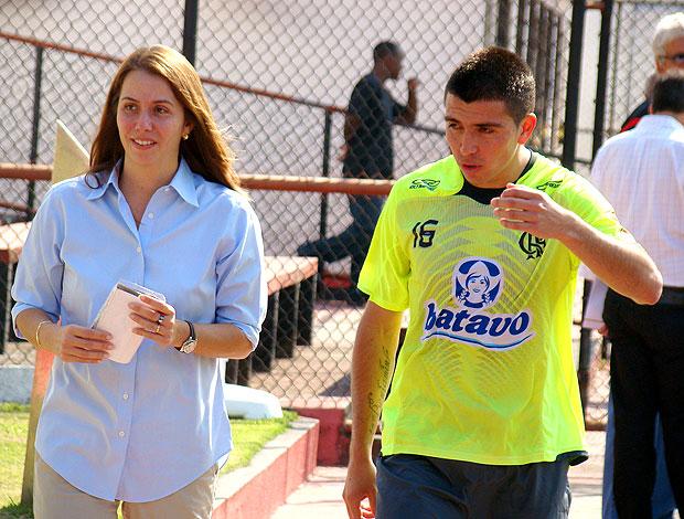Fierro e Patrícia Amorim no treino do Flamengo