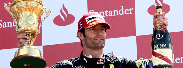 Mark Webber no GP da Inglaterra - pódio