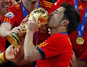 David Villa taça Copa do Mundo festa Espanha