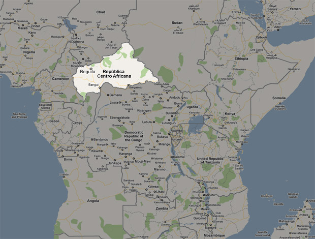 Mapa República Centro Africana Boguila