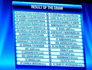 Sorteio 3ª rodada Liga dos Campeões da Europa - 2010-2011