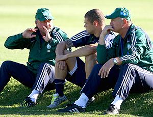 Felipão, Murtosa e Edinho no treino do Palmeiras