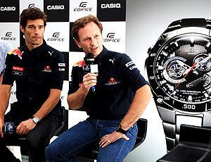 Mark Webber e Christian Horner no lançamento do relógio da RBR