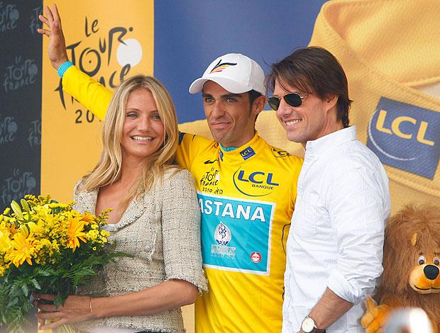 Alberto Contador Tom Cruise Cameron Diaz comemoração Tour de France