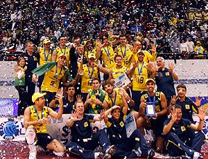Brasil comemoração vôlei pódio Liga Mundial