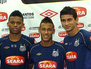 André, Neymar e Ganso na coletiva do Santos sobre a convocação