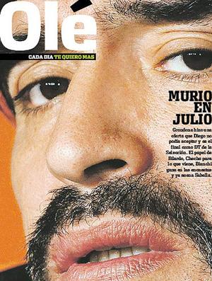 Capa Olé Maradona fora da seleção Argentina