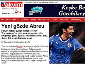 Reprodução do site do jornal turco Takvim El Loco Abreu