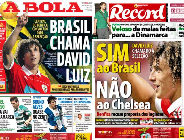 jornais portugueses destacam convocação de David Luiz