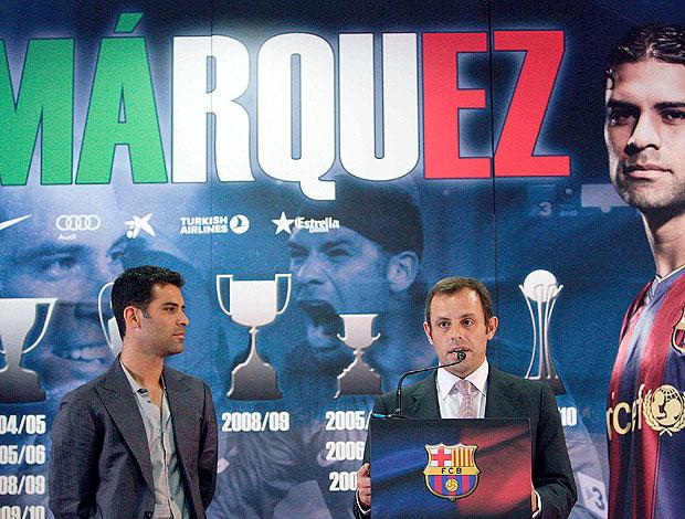Rafa Marquez durante despedida do Barcelona