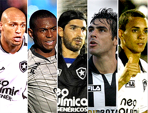 Montagem Botafogo: Jobson, Loco Abreu, Edno, Herrera, Caio