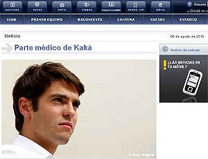 reprodução site oficial do Real madrid kaká médicos