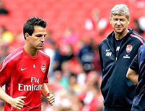 Cesc Fábregas e Arsene Wenger treino Arsenal