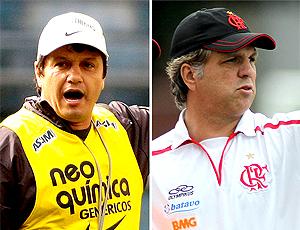 Montagem: Adílson Batista Corinthians e Rogério Lourenço Flamengo