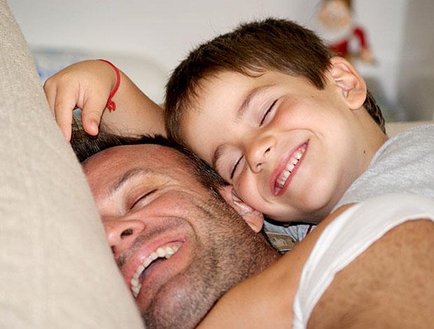 Barrichello com o filho no Dia dos Pais