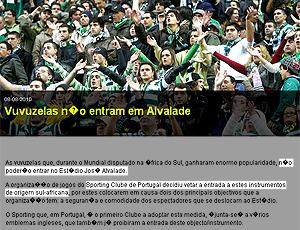 Sporting, proibe vuvuzelas no estádio. Portugal