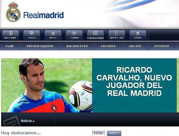 Ricardo Carvalho novo jogador do Real Madrid reprodução site