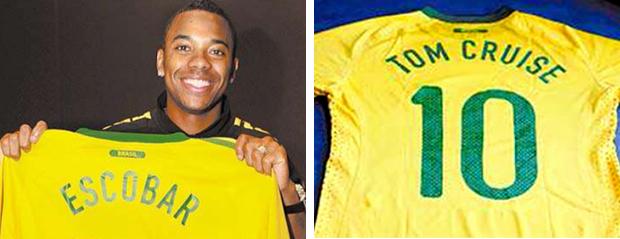 Montagem: Robinho com camisa Escobar e Camisa Tom Cruise. Brasil