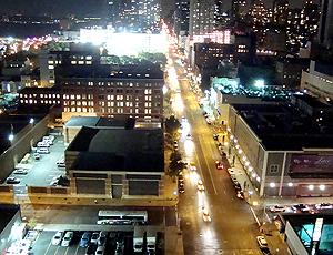 Vista do terraço do hotel em Nova York - festa para seleção de basquete
