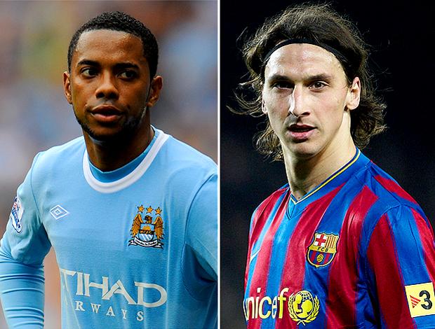 Montagem: Robinho Manchester City e Ibrahimovic Barcelona