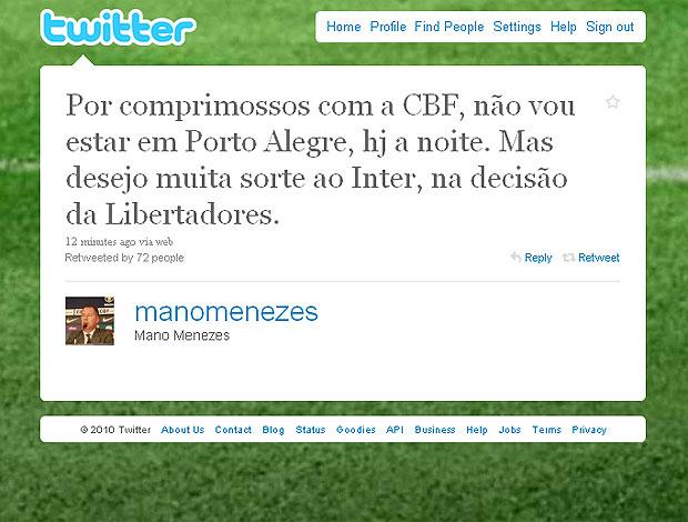 Via twitter Mano Menezes deseja sorte ao Internacional
