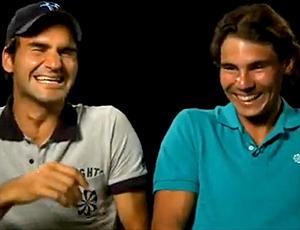 FRAME Federer e Nadal gargalhada