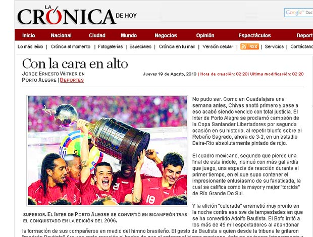 Site Mexicano destaca boa atuação do Chivas na final Libertadores