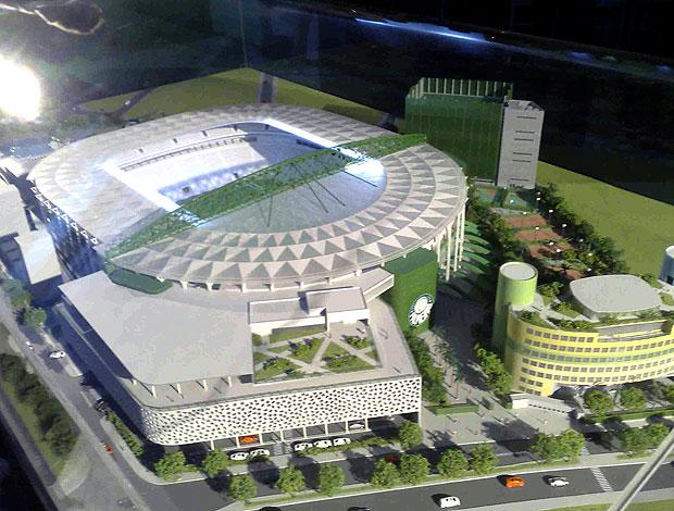 maquete da arena do Palmeiras durante festa