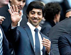 Sheik Mansour na partida do Manchester City