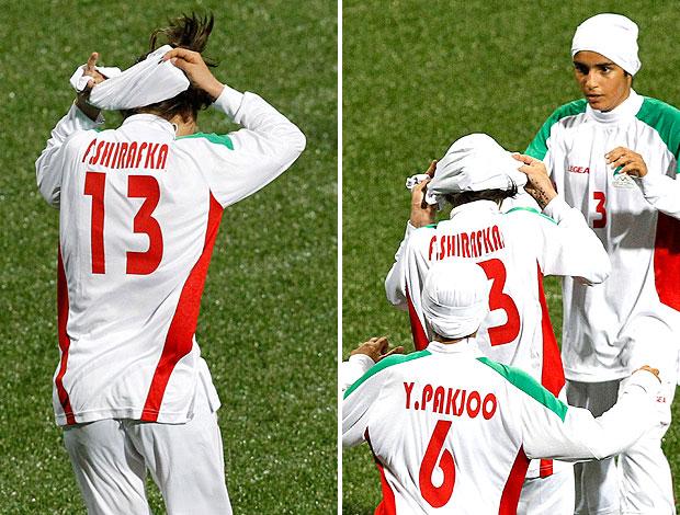Fatemeh Shirafkannejad se cobre no jogo do Irã