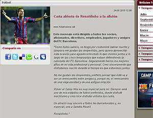 Ronaldinho Gaúcho carta aberta Barcelona