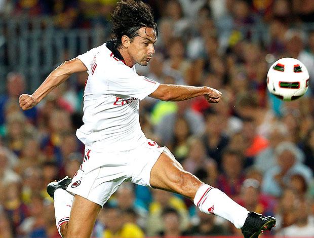Filippo Inzaghi na partida do Milan contra o Barcelona