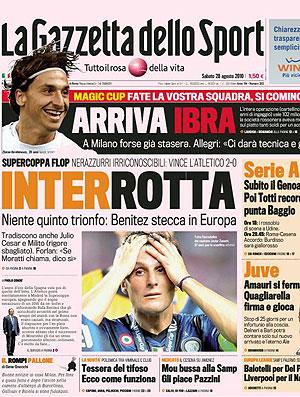 capa Gazzetta dello Sport Interrotta