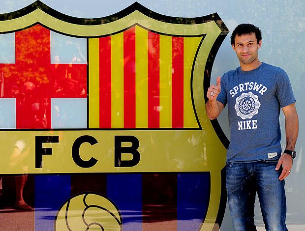 Javier Mascherano se apresentando ao Barcelona